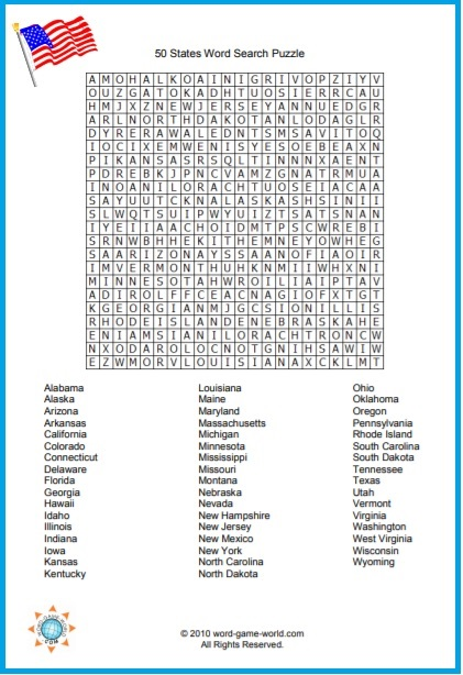 50 States Word Search - free printable page from Word-Game-World.com