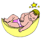 baby asleep on a crescent moon