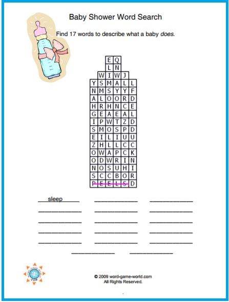 baby shower word search in shape of a bottle