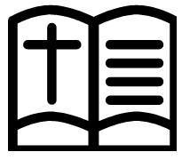 outline of a bible and cross