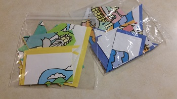 puzzle pieces stored in plastic bags