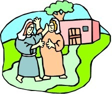Mary and Elizabeth standing outside of a home
