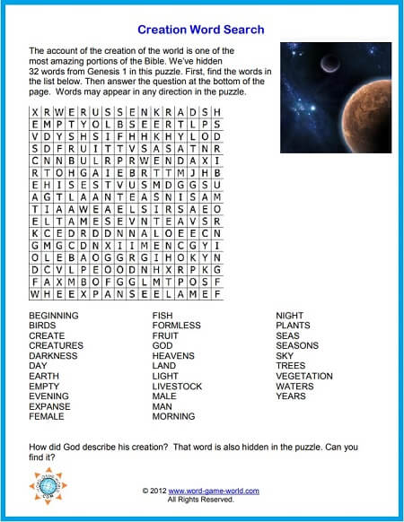printable Bible word search - puzzle
