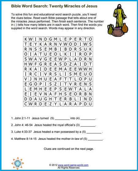 Bible Word Searches - Twenty Miracles of Jesus