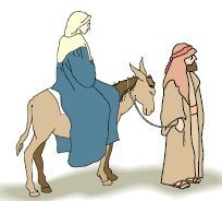 Mary on a donkey with Joseph