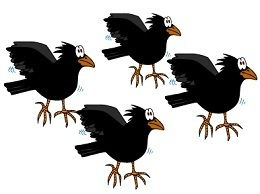 flock of black cartoony birds