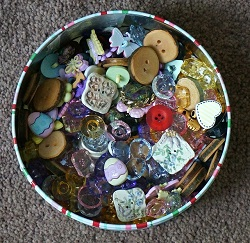 box of assorted buttons
