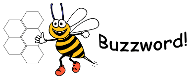Buzzword logo with bee