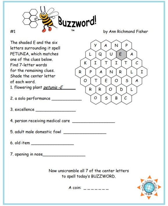 image relating to Word Game Printable known as No cost Printable Term Online games : Buzzwords!