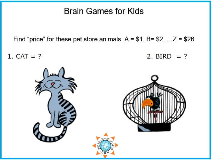 Brain Games for Kids - Find the pet store prices graphic
