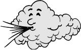 cloud with face blowing hard