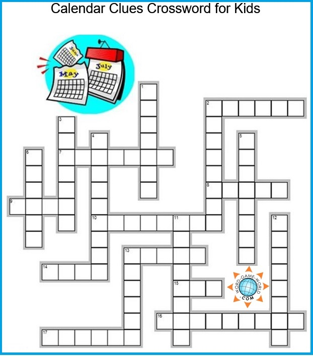 Crossword puzzles for children - Calendar Words grid