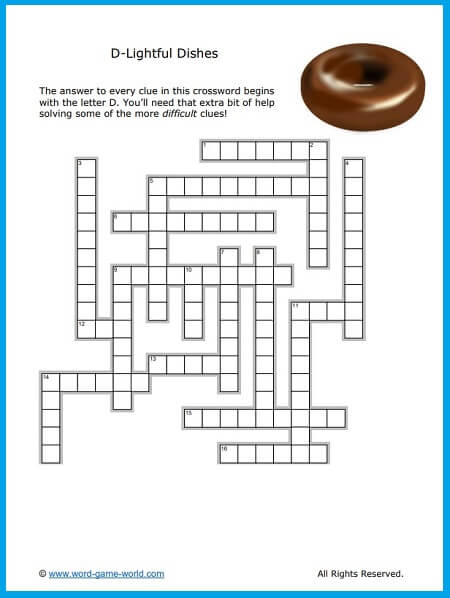 Delightful Dishes! Food crossword puzzle