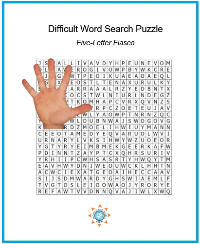 difficult word search puzzle, Five-Letter Fiasco