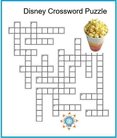 Disney Crossword Puzzles Kids Printable
