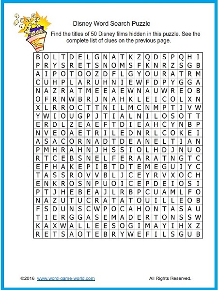 Disney Word Search Puzzle: Find the titles of 50 great Disney films inside this fun puzzle.