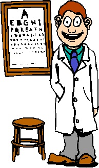 cartoon eye doctor standing in front of an eye chart