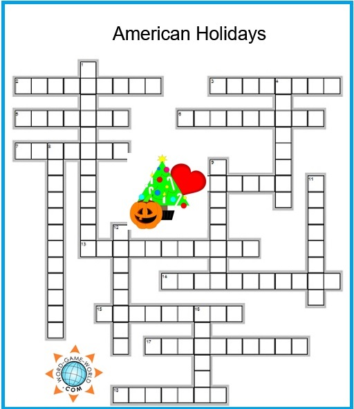 American Holidays are the theme of this fun easy crossword puzzle.
