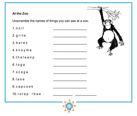 Easy Word Scramble - At the Zoo