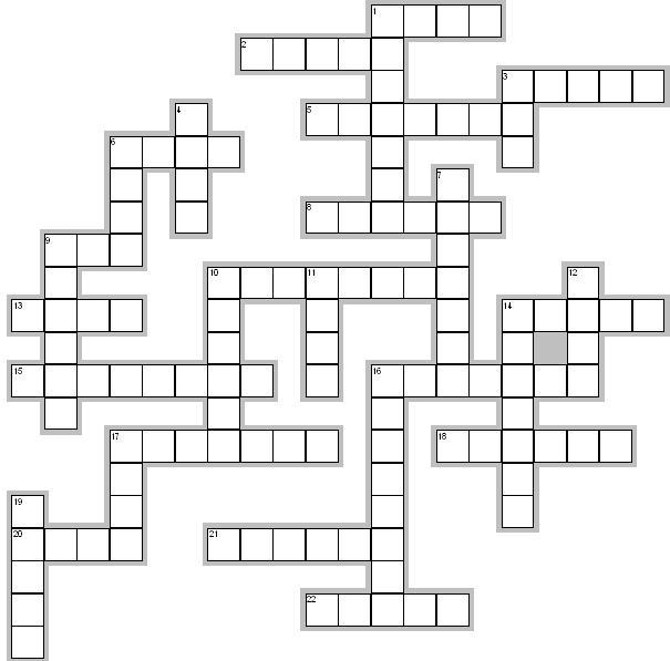 Easy crossword puzzles for kids - grid