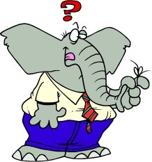 Forgetful elephant with a string tied around his finger, from our Memory Brain Games collection at www.word-game-world.com