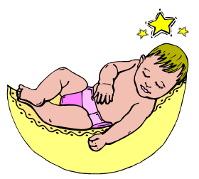 baby resting in yellow basket