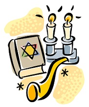 candles, shofar, star of David