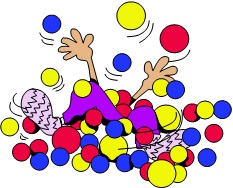 cartoon kid playing in a big pile of colorful balls