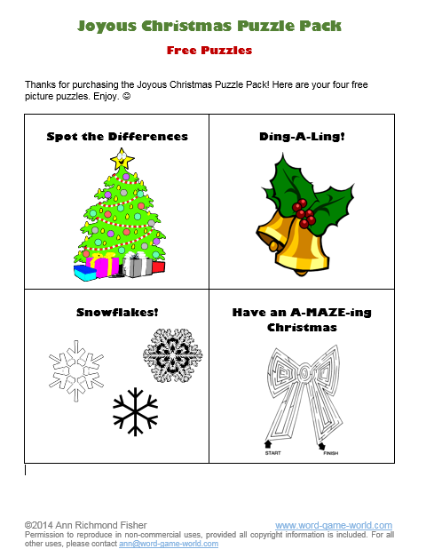 free Christmas puzzles - cover