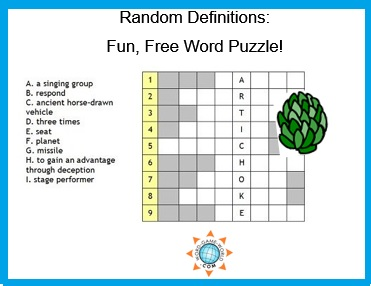 Free word puzzle : Random Definitions using the word ARTICHOKE