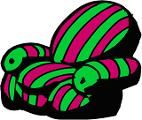 fun green and pink striped chair