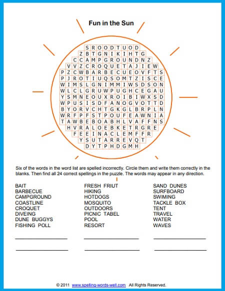 Summer Word Search For Puzzling Fun