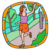 woman jogging down a path