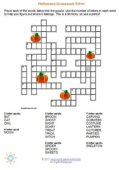 Halloween Fill-In Crossword from www.word-game-world.com