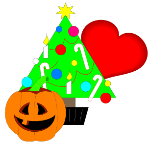 Christmas tree, valentine and jack-o-lantern