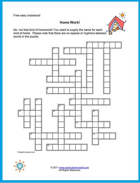 A Free Easy Crossword All About Homes