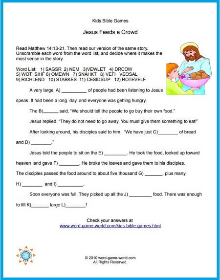 Jesus Feeds a Crowd, One of our Kids Bible Games