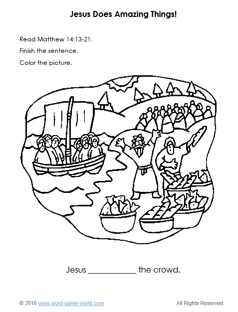 Bible coloring page - Jesus Feeds a Crowd