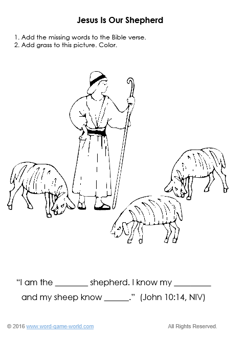 Finish the verse coloring sheet : Jesus is Our Shepherd