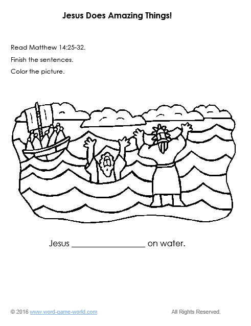 Bible coloring page - Jesus walks on water