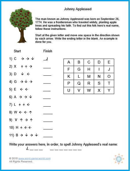 Johnny Appleseed kids educational game, from www.word-game-world.com