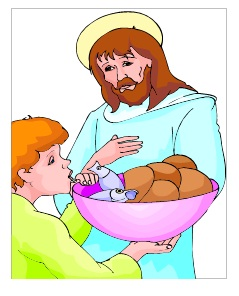Jesus with boy, 5 loaves and 2 fish