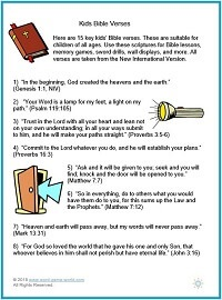 List of 15 key Kids' Bible Verses freom #wordgameworld