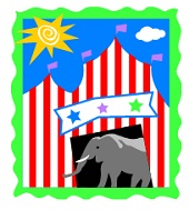 elephant and circus tent