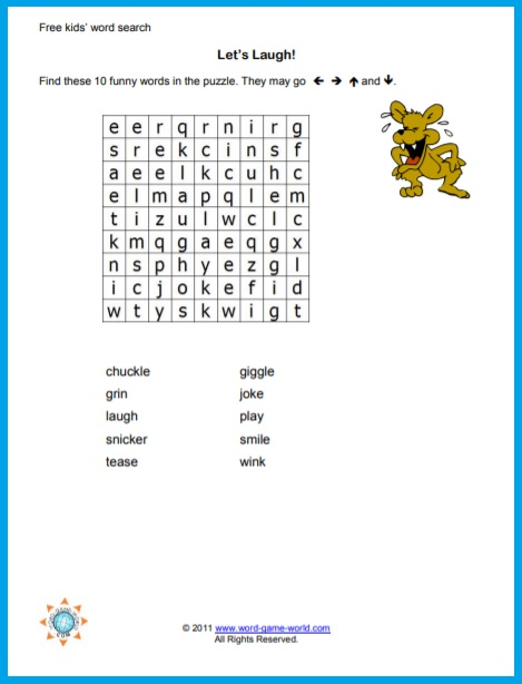 Let's Laugh is a great, simple kids' free word search puzzle!