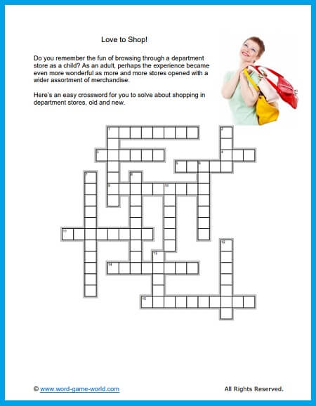 Crossword Lite: Love to Shop!