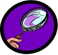 Purple magnifying glass, from the large-print easy crosswords at www.word-game-world.com