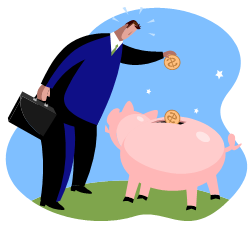 man and piggy bank