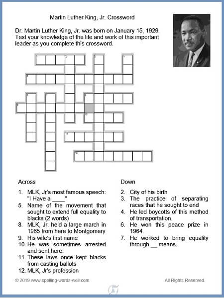 Martin Luther King, Jr. Crossword puzzle and clues