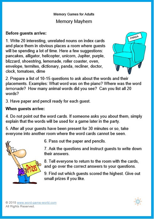 Memory Games for Adults - Memory Mayhem, from our collection of fun #memorygames at www.word-game-world.com